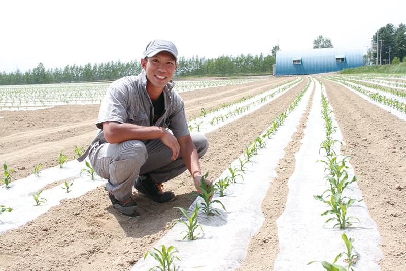 玉蜀黍畑と土井さん